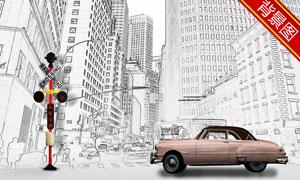 钢笔画风格建筑物影楼摄影背景图片