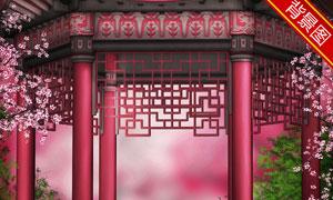 古典中国风亭台影楼摄影背景图片