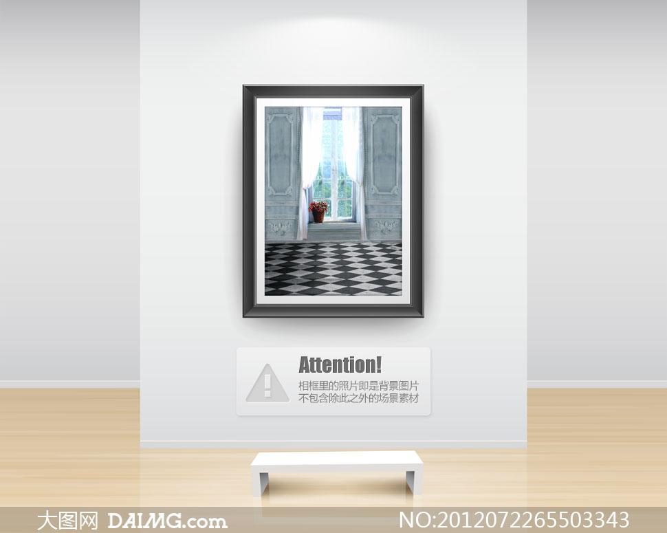 放在窗台上的花篮影楼摄影背景图片