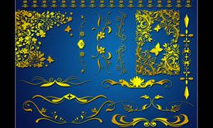 金色花纹花藤设计PSD分层素材