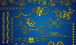 金色装饰花纹花边设计PSD分层素材