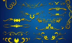 金色对称花纹花边PSD分层素材