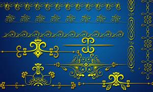 金色花边装饰元素PSD素材
