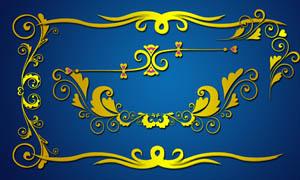金色花纹花藤设计元素PSD素材