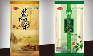 龙井茶茶叶袋包装设计PSD源文件