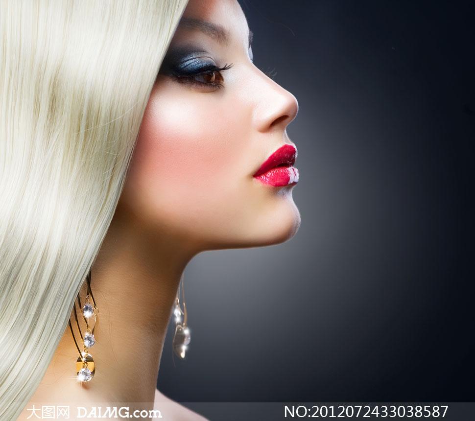白色披肩发红唇美女摄影高清图片 大图网设计