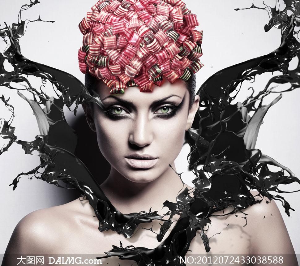 飞溅的墨水与浓妆美女创意高清图片 大图网设