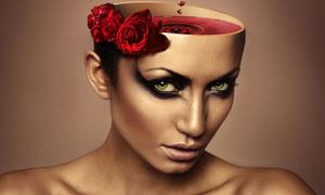 红酒花朵与美女创意合成高清图片