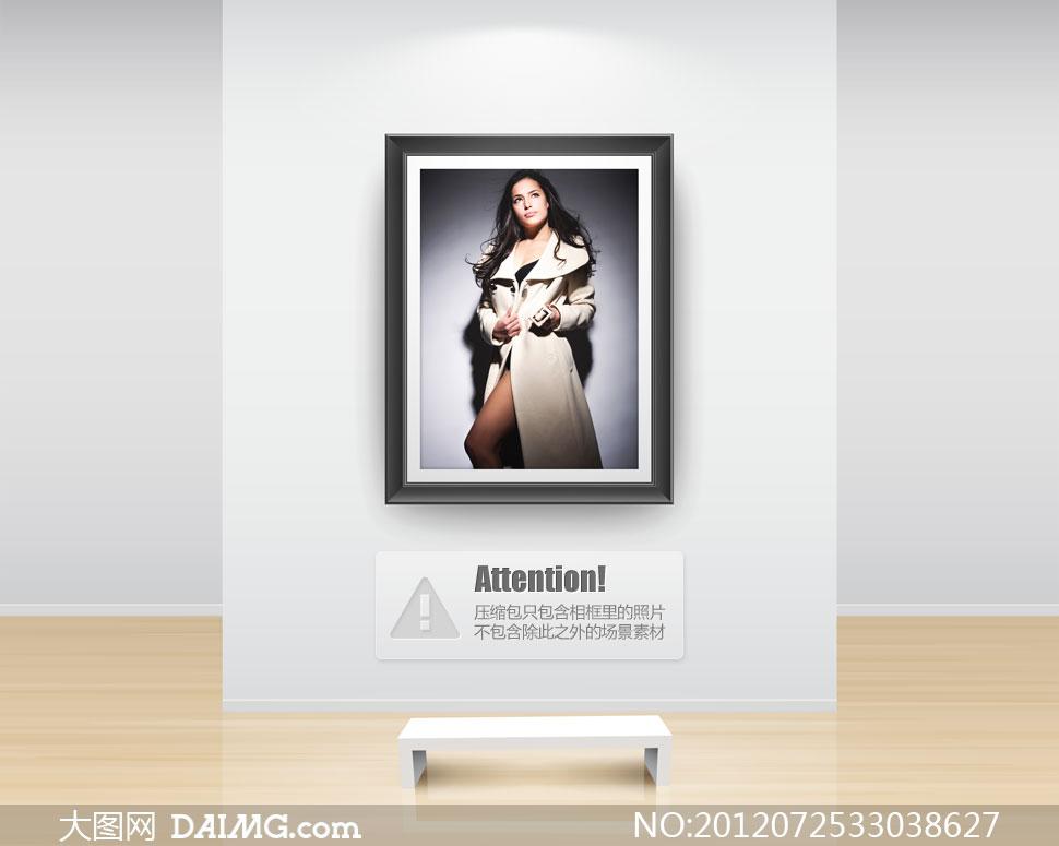 穿米色风衣外套的美女摄影高清图片 大图网设