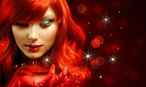红颜色头发的美女人物摄影高清图片
