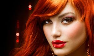 橙红色长发时尚美女摄影高清图片