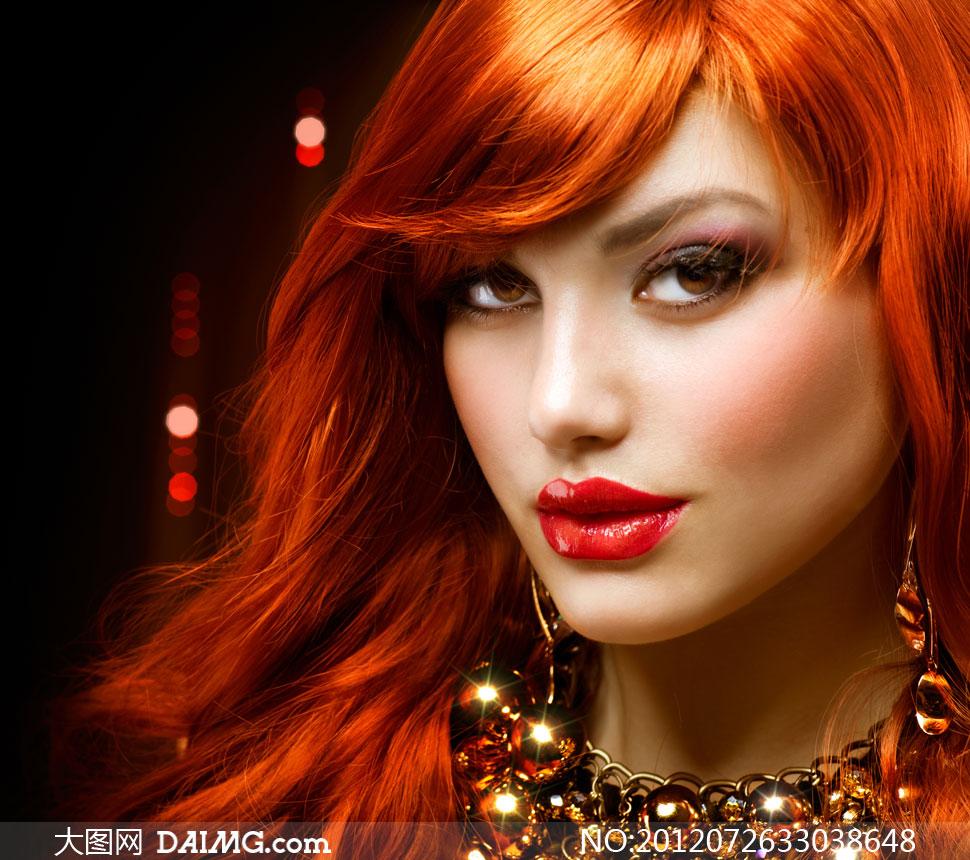 欧美少女色�_柔顺化妆眼妆美妆妆容美容美发发型红唇闪光发光饰品首饰欧美金色反光