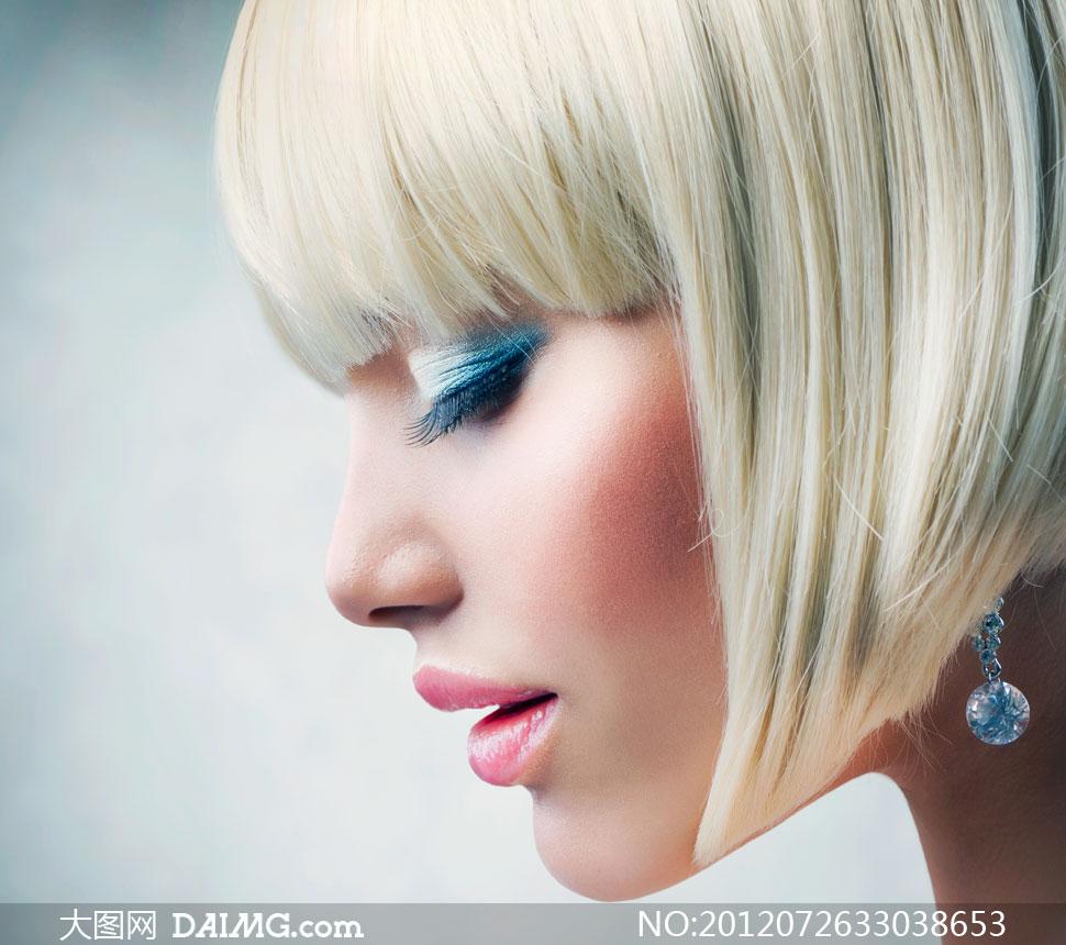 齐刘海儿眼妆短发美女摄影高清图片 大图网设