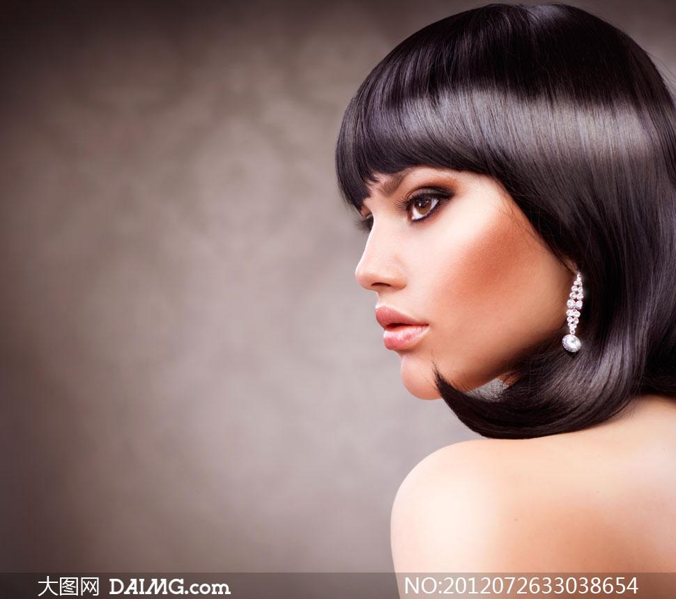 亮泽柔顺黑发美女模特摄影高清图片