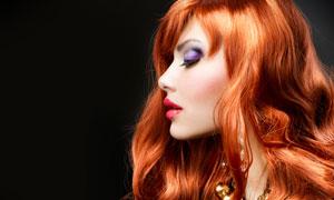 橙红色红唇美女侧面摄影高清图片