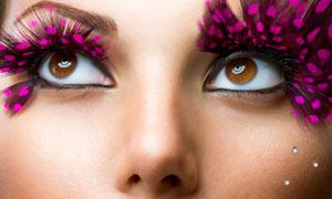 超大假睫毛彩妆美女摄影高清图片