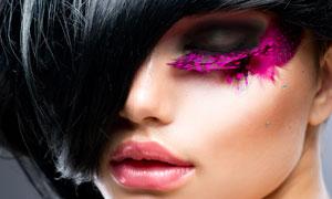 厚重黑发彩妆时尚美女摄影高清图片