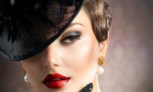 复古范儿的红唇美女摄影高清图片
