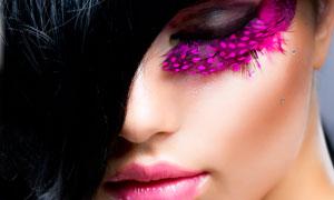 浓密黑发的彩妆美女摄影高清图片