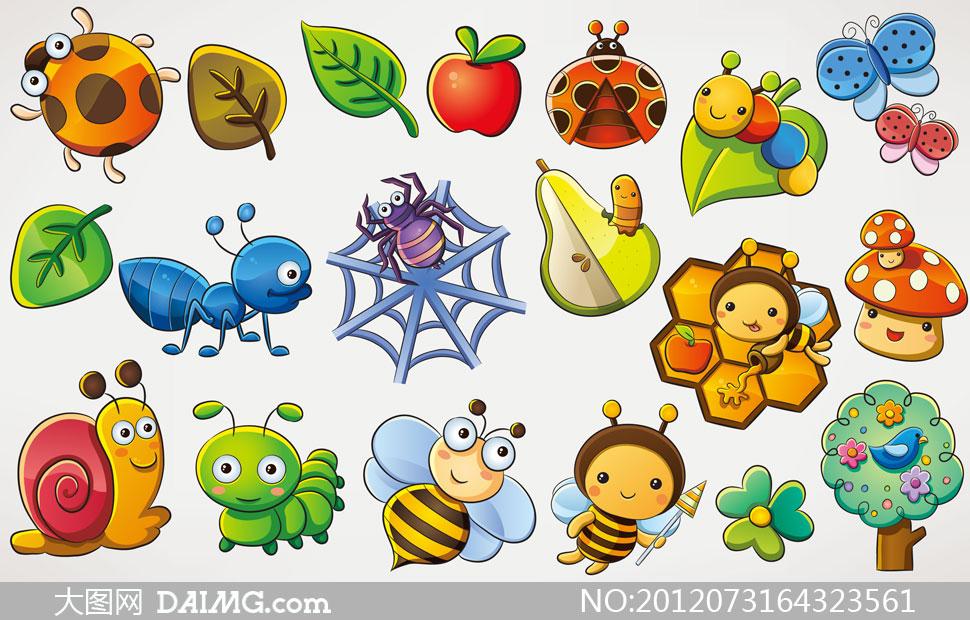 卡通动物昆虫瓢虫树叶叶子绿叶蚂蚁梨蜜蜂蜂窝蘑菇