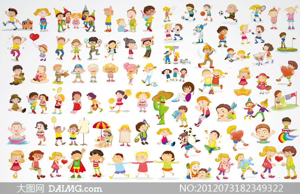素材卡通可爱小孩儿童小朋友幼儿园幼稚园体育运动玩耍游戏嬉戏萌图