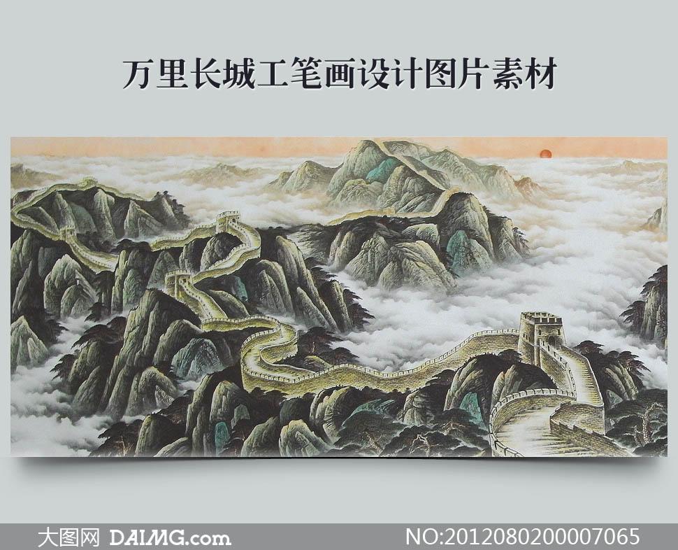 松树杂树流水国画工笔山水绘画书法文化艺术设计高清