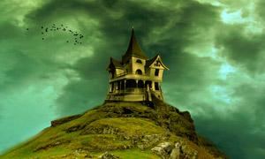 乌云下山顶城堡设计图片素材
