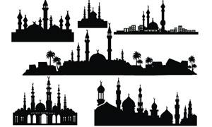 欧式城市城堡剪影笔刷