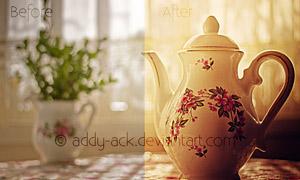 茶壶复古黄色调效果调色动作
