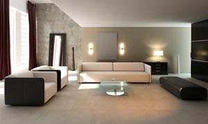 宽敞明亮的客厅家具摄影高清图片