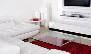 白色沙发与红色地毯摄影高清图片