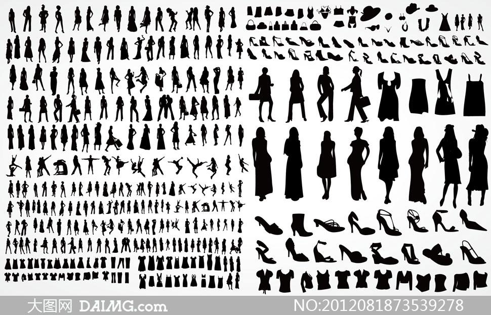 多种姿势女性人物剪影矢量素材