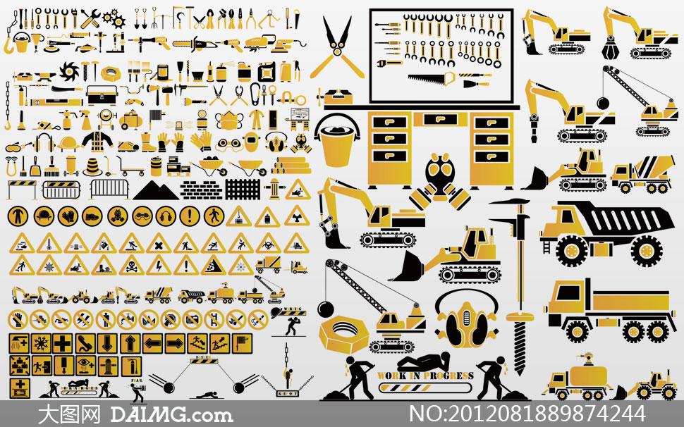 建筑工地工具与器械矢量素材