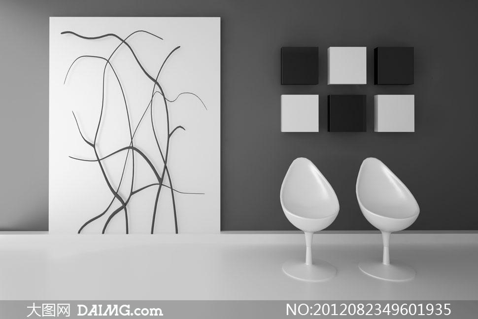黑白格调室内装饰效果高清摄影图片