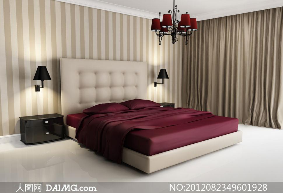 开着灯的卧室家具摆设摄影高清图片