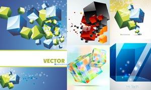 科技時尚立方體設計元素矢量素材