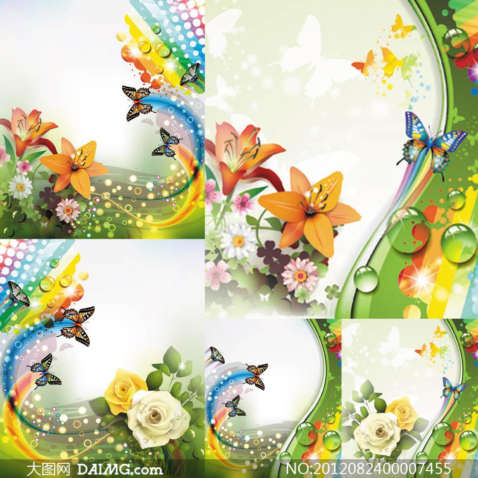 时尚花朵和蝴蝶设计元素矢量素材