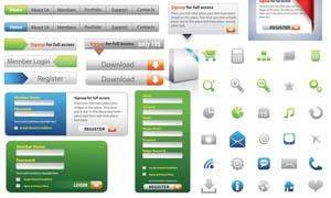 网页导航条和登陆框等UI设计矢量素材
