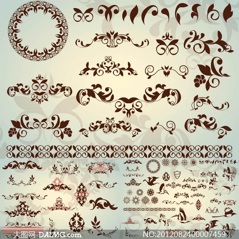 精美花纹和动物图形设计矢量素材