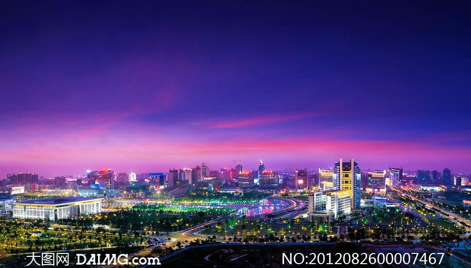 东莞城市夜景全景图摄影图片