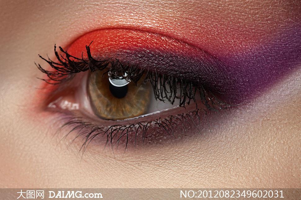 化了妆的美女眼部特写摄影高清图片 大图网设