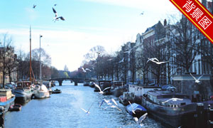 欧洲建筑河道船只影楼摄影背景图片