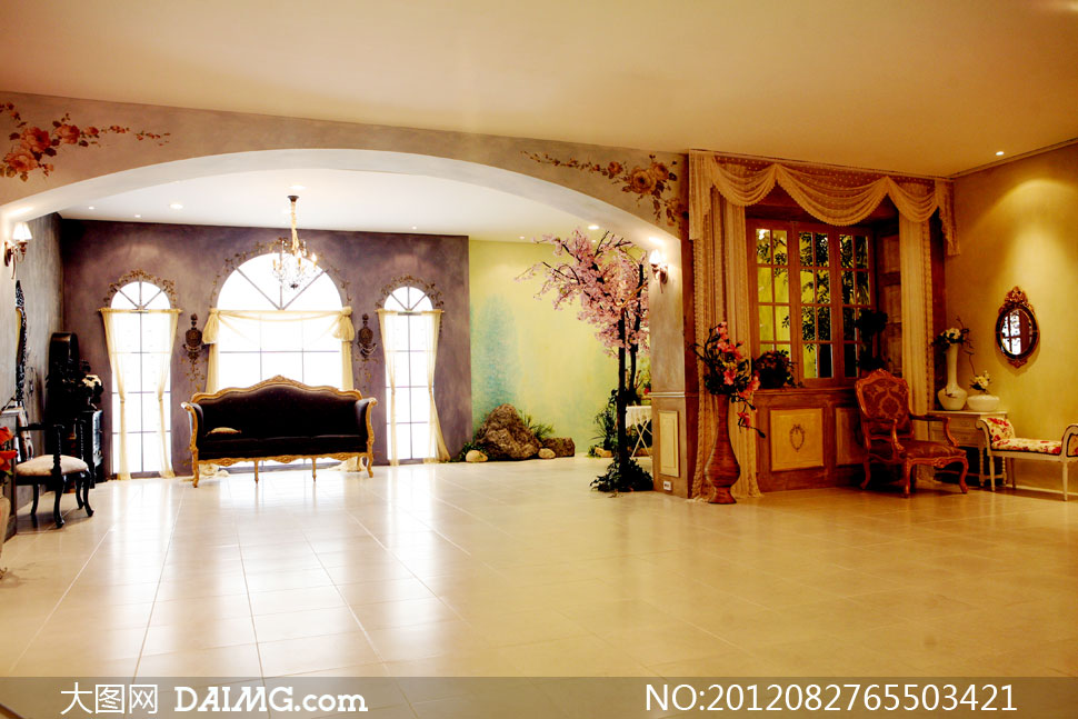 背景实景棚室内欧式古典地砖地板沙发家具窗户窗帘布置摆设陈设装饰