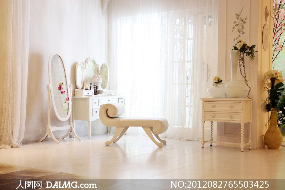 室内欧式家具摆设影楼摄影背景图片
