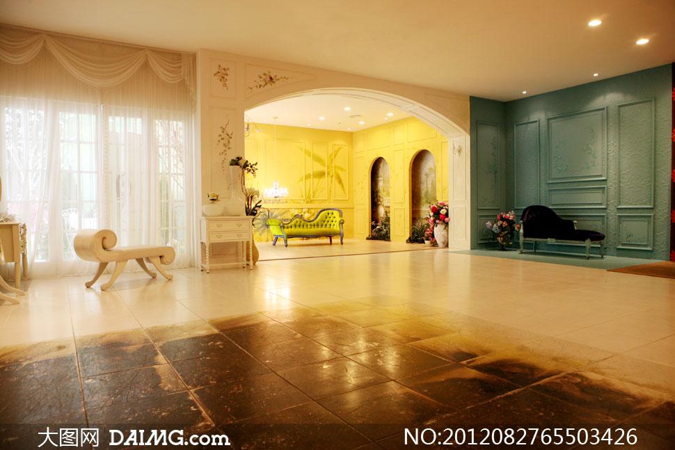 背景实景棚室内欧式古典地砖地板布置摆设陈设装饰窗