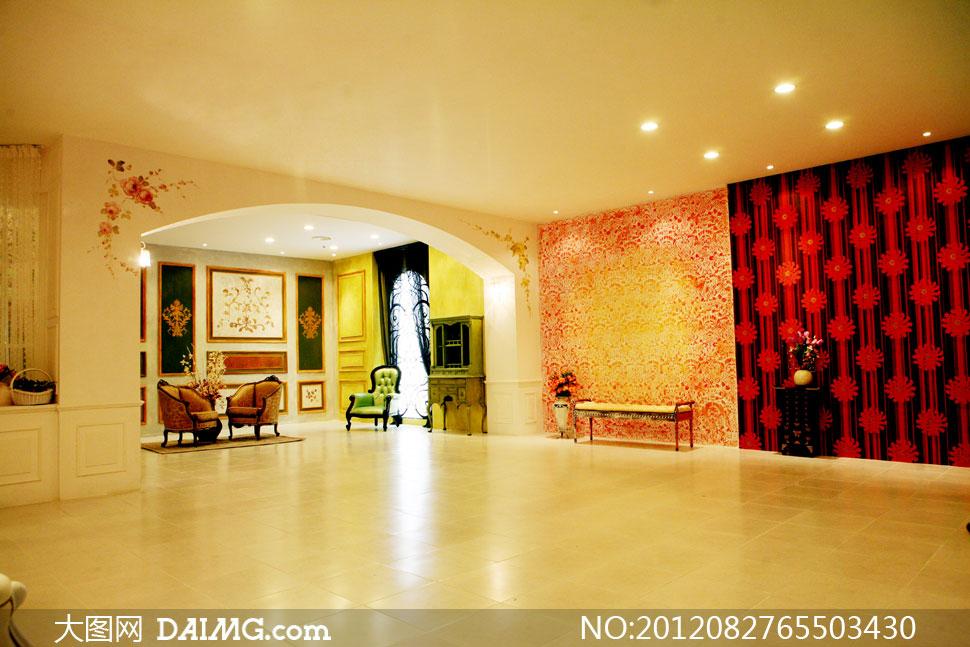欧式古典地砖地板布置摆设陈设装饰吸顶灯灯光宽敞