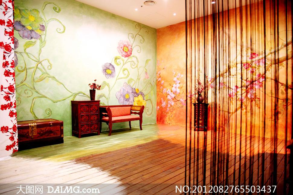 室内墙纸装饰纱帘影楼摄影背景图片图片
