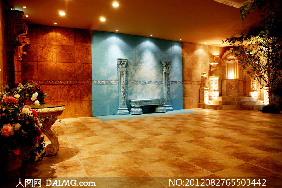 欧式古典室内场景影楼摄影背景图片