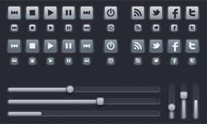 网页立体按钮和导航条设计矢量素材