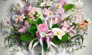 儿童模板相框和鲜花等剪贴图片素材